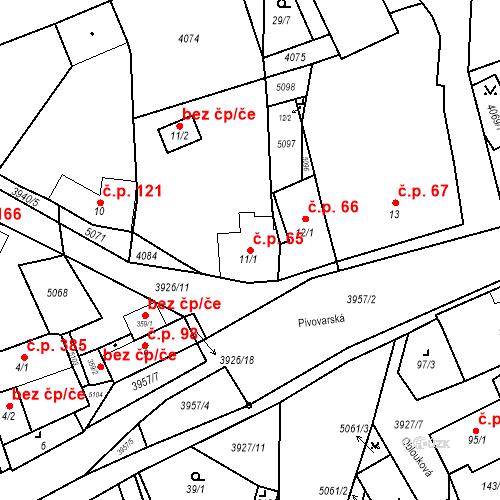Katastrální mapa Stavební objekt Kryry 65, Kryry