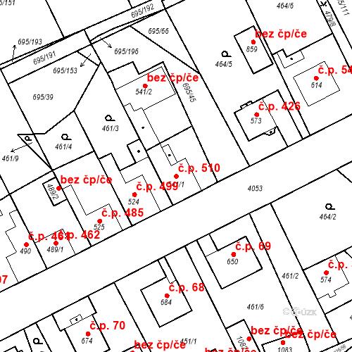 Katastrální mapa Stavební objekt Kryry 510, Kryry