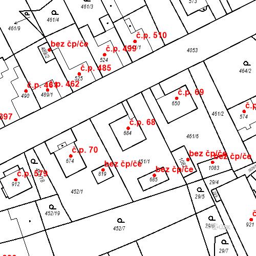 Katastrální mapa Stavební objekt Kryry 68, Kryry