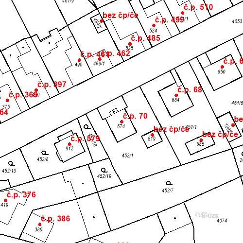 Katastrální mapa Stavební objekt Kryry 70, Kryry