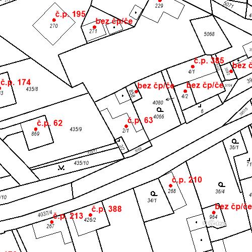 Katastrální mapa Stavební objekt Kryry 63, Kryry