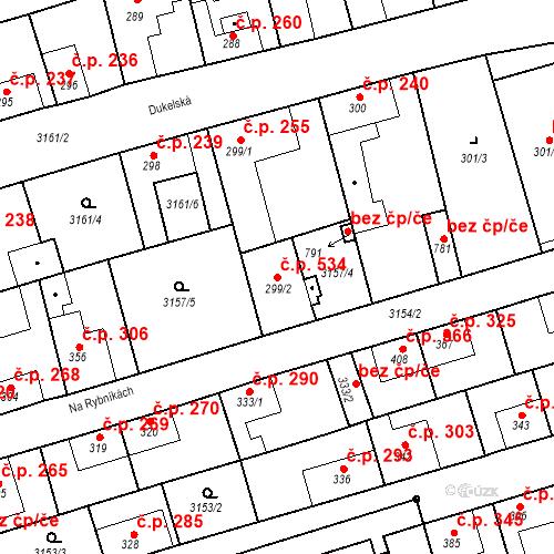 Katastrální mapa Stavební objekt Kryry 534, Kryry