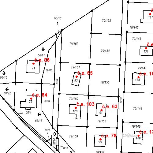 Katastrální mapa Stavební objekt Vadkovice 65, Chbany