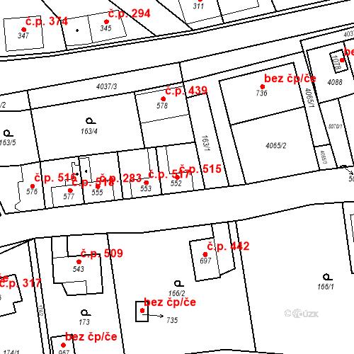 Katastrální mapa Stavební objekt Kryry 515, Kryry