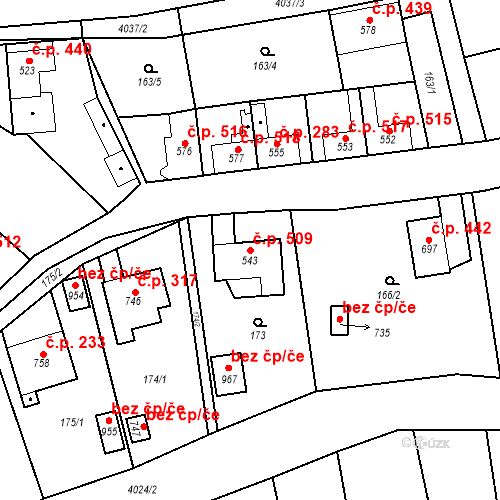 Katastrální mapa Stavební objekt Kryry 509, Kryry