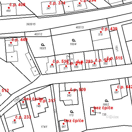 Katastrální mapa Stavební objekt Kryry 518, Kryry
