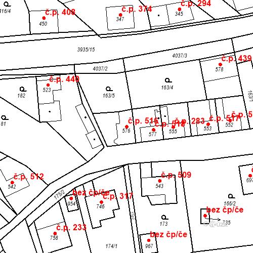 Katastrální mapa Stavební objekt Kryry 516, Kryry