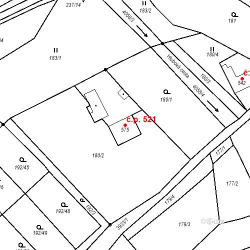 Katastrální mapa Stavební objekt Kryry 521, Kryry