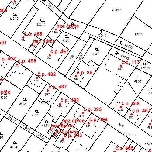 Katastrální mapa Stavební objekt Kryry 86, Kryry