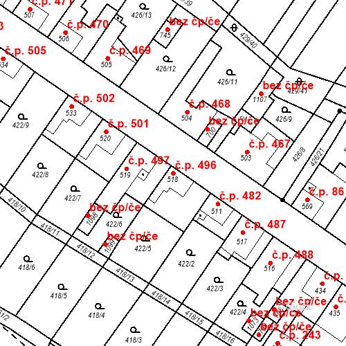 Katastrální mapa Stavební objekt Kryry 496, Kryry
