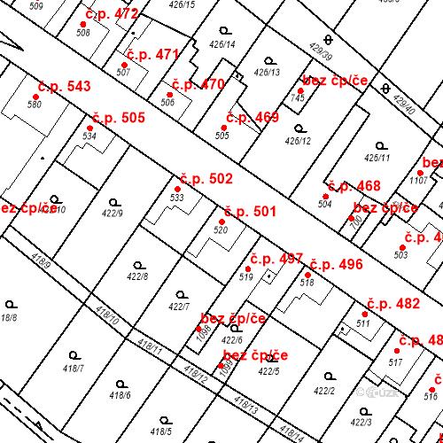Katastrální mapa Stavební objekt Kryry 501, Kryry