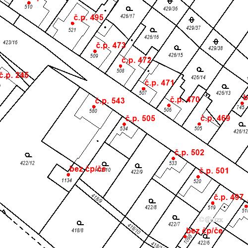 Katastrální mapa Stavební objekt Kryry 505, Kryry