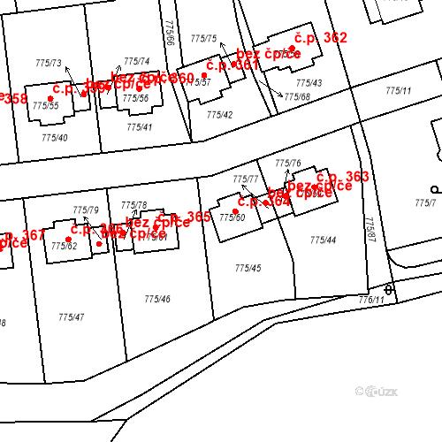 Katastrální mapa Stavební objekt Dýšina 364, Dýšina