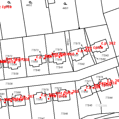 Katastrální mapa Stavební objekt Dýšina 360, Dýšina