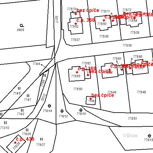 Katastrální mapa Stavební objekt Dýšina 369, Dýšina