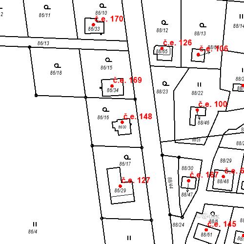 Katastrální mapa Stavební objekt Poláky 148, Chbany
