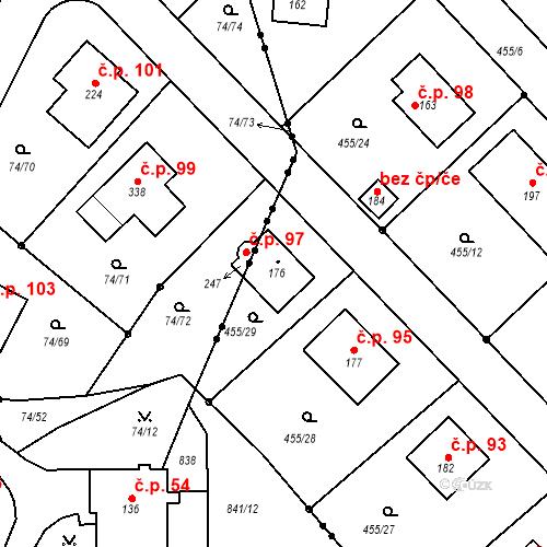 Katastrální mapa Stavební objekt Zelená 97, Málkov