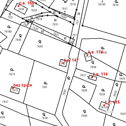 Katastrální mapa Stavební objekt Poláky 147, Chbany