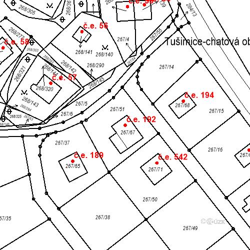 Katastrální mapa Stavební objekt Tušimice 192, Kadaň