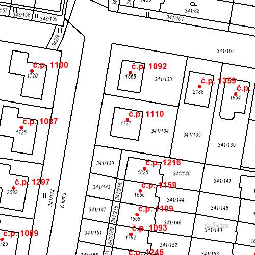 Katastrální mapa Stavební objekt Starý Plzenec 1110, Starý Plzenec