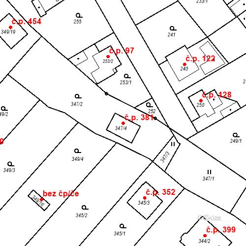 Katastrální mapa Stavební objekt Červený Hrádek 381, Plzeň
