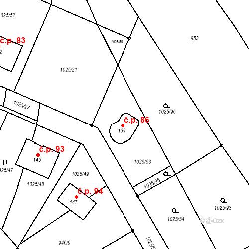 Katastrální mapa Stavební objekt Chlum 86, Chlum