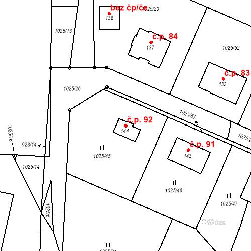 Katastrální mapa Stavební objekt Chlum 92, Chlum
