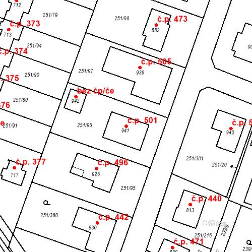 Katastrální mapa Stavební objekt Losiná 501, Losiná