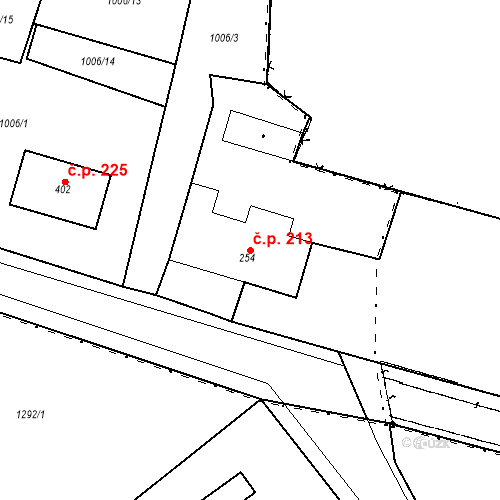 Katastrální mapa Stavební objekt Kašperské Hory 213, Kašperské Hory