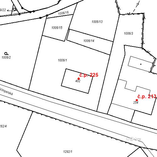 Katastrální mapa Stavební objekt Kašperské Hory 225, Kašperské Hory