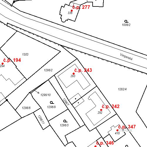 Katastrální mapa Stavební objekt Kašperské Hory 243, Kašperské Hory