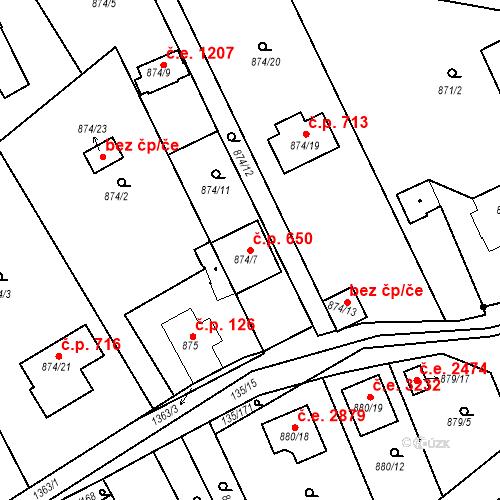 Katastrální mapa Stavební objekt Božkov 650, Plzeň