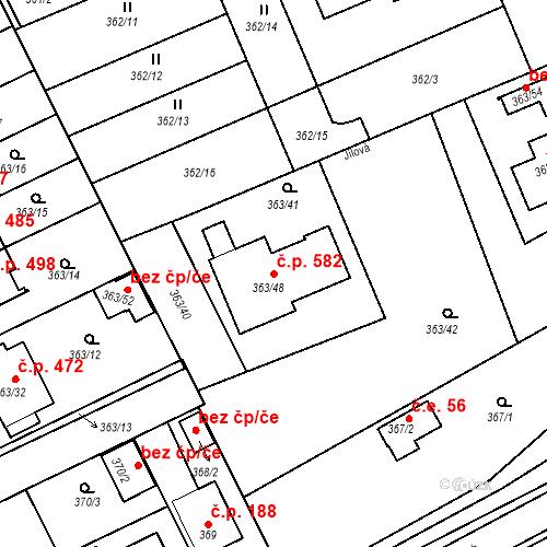 Katastrální mapa Stavební objekt Koterov 582, Plzeň