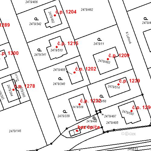 Katastrální mapa Stavební objekt Třemošná 1202, Třemošná