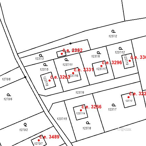 Katastrální mapa Stavební objekt Božkov 3331, Plzeň