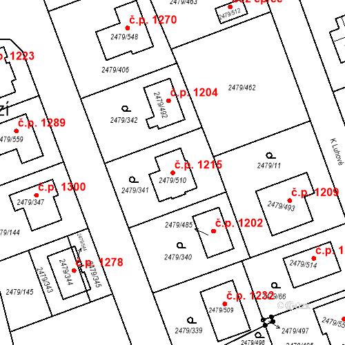 Katastrální mapa Stavební objekt Třemošná 1215, Třemošná