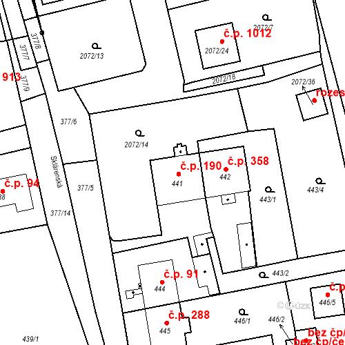 Katastrální mapa Stavební objekt Třemošná 190, Třemošná