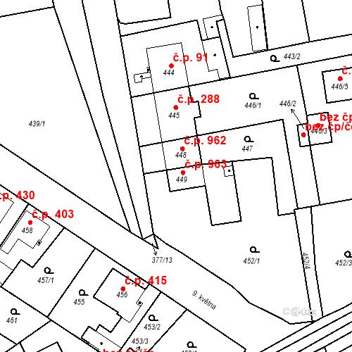 Katastrální mapa Stavební objekt Třemošná 963, Třemošná