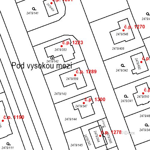 Katastrální mapa Stavební objekt Třemošná 1289, Třemošná