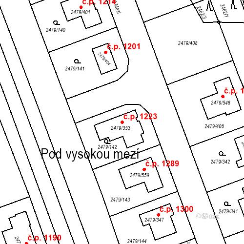 Katastrální mapa Stavební objekt Třemošná 1223, Třemošná