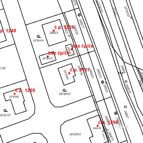 Katastrální mapa Stavební objekt Třemošná 1197, Třemošná