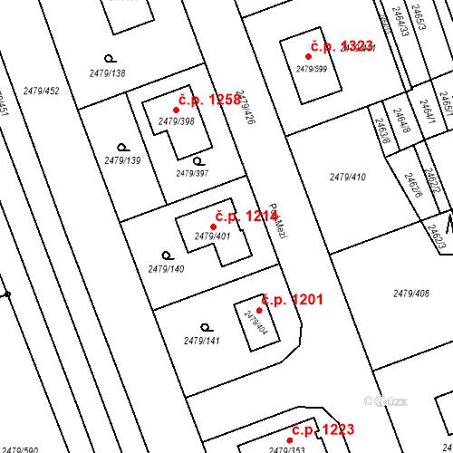 Katastrální mapa Stavební objekt Třemošná 1214, Třemošná