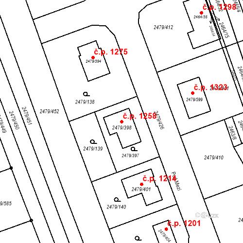 Katastrální mapa Stavební objekt Třemošná 1258, Třemošná