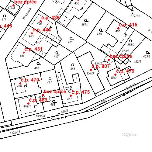 Katastrální mapa Stavební objekt Třemošná 475, Třemošná