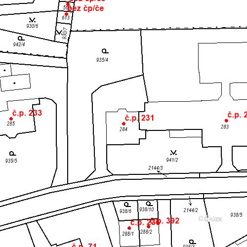 Katastrální mapa Stavební objekt Kašperské Hory 231, Kašperské Hory