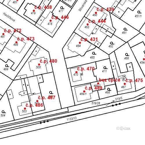 Katastrální mapa Stavební objekt Třemošná 470, Třemošná