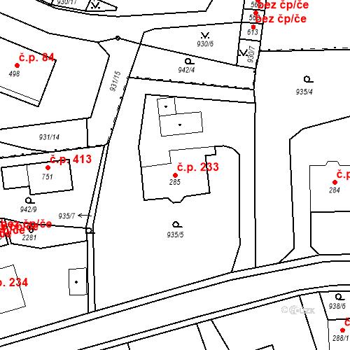 Katastrální mapa Stavební objekt Kašperské Hory 233, Kašperské Hory