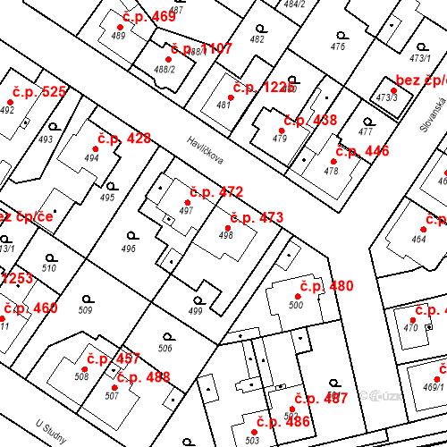 Katastrální mapa Stavební objekt Třemošná 473, Třemošná