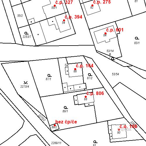 Katastrální mapa Stavební objekt Třemošná 164, Třemošná