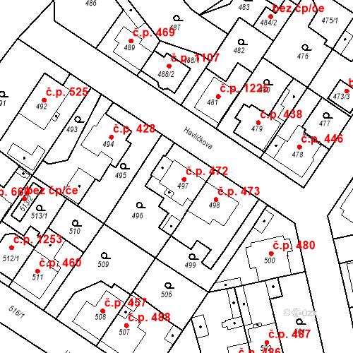 Katastrální mapa Stavební objekt Třemošná 472, Třemošná